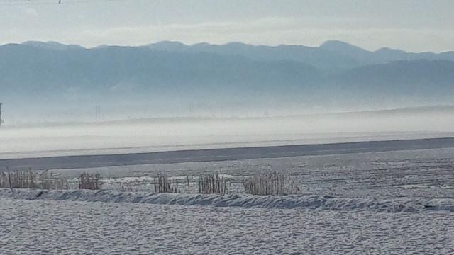 朝靄の国仲平野