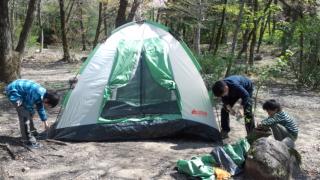 早春のキャンプ